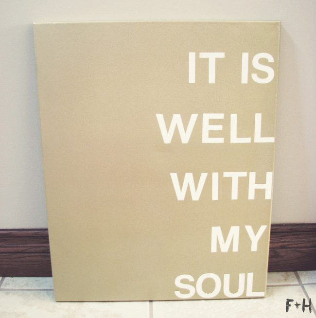 gold diy quote canvas leaned against wall