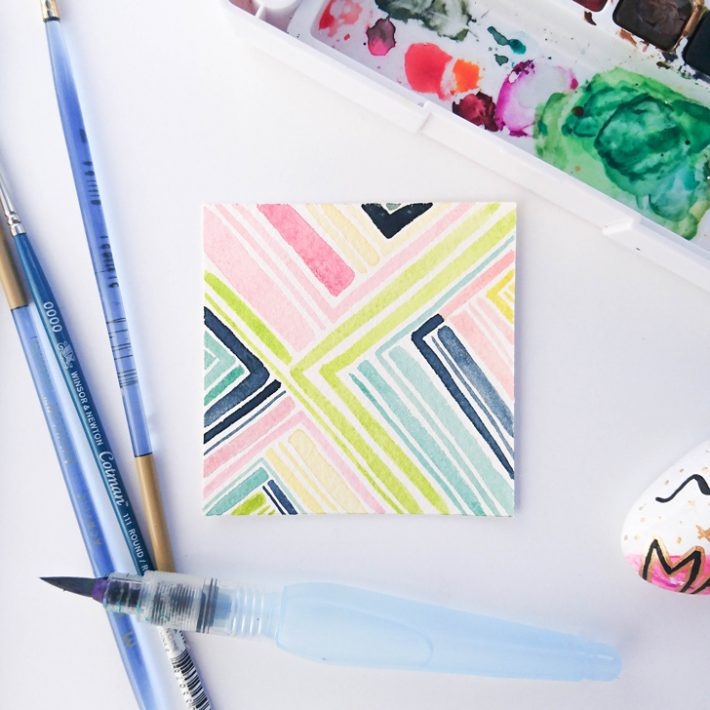 watercolor painting on white desk