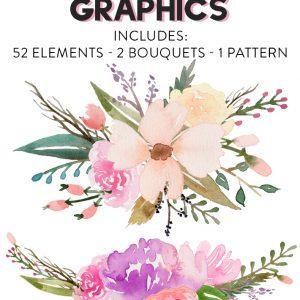 Free Watercolor Flower Graphics - Fox + Hazel 1