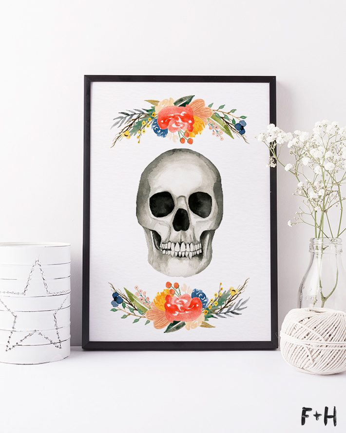 Free Watercolor Skull Print -Fox + Hazel 11