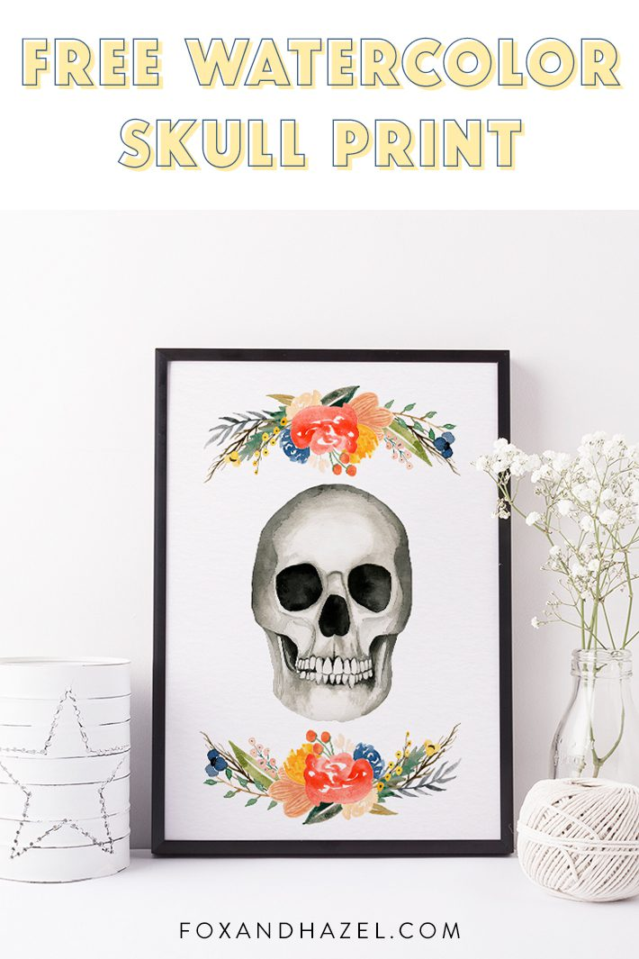 Free Watercolor Skull Print - Fox + Hazel