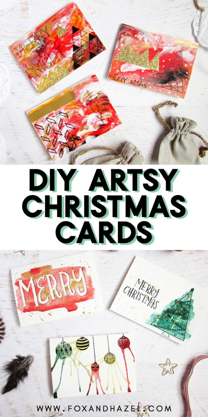 artsy christmas cards on a white background
