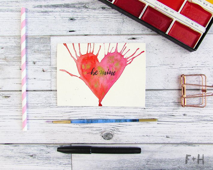 3 easy watercolor valentines cards-fox + hazel 3