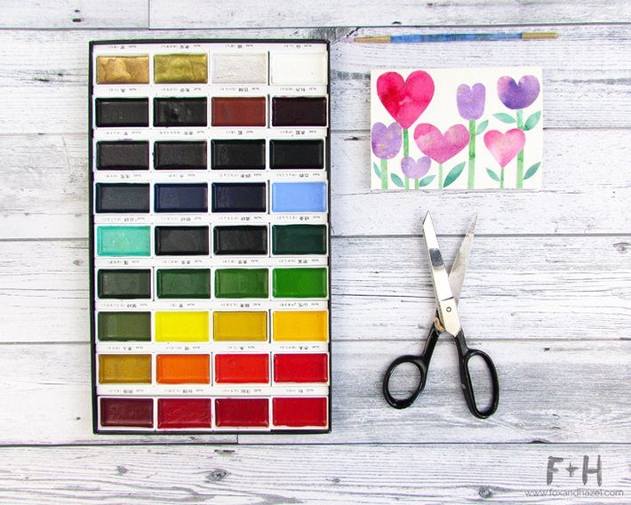 3 easy watercolor valentines cards-fox + hazel 5