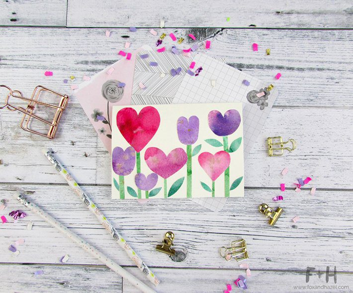3 easy watercolor valentines cards-fox + hazel 8