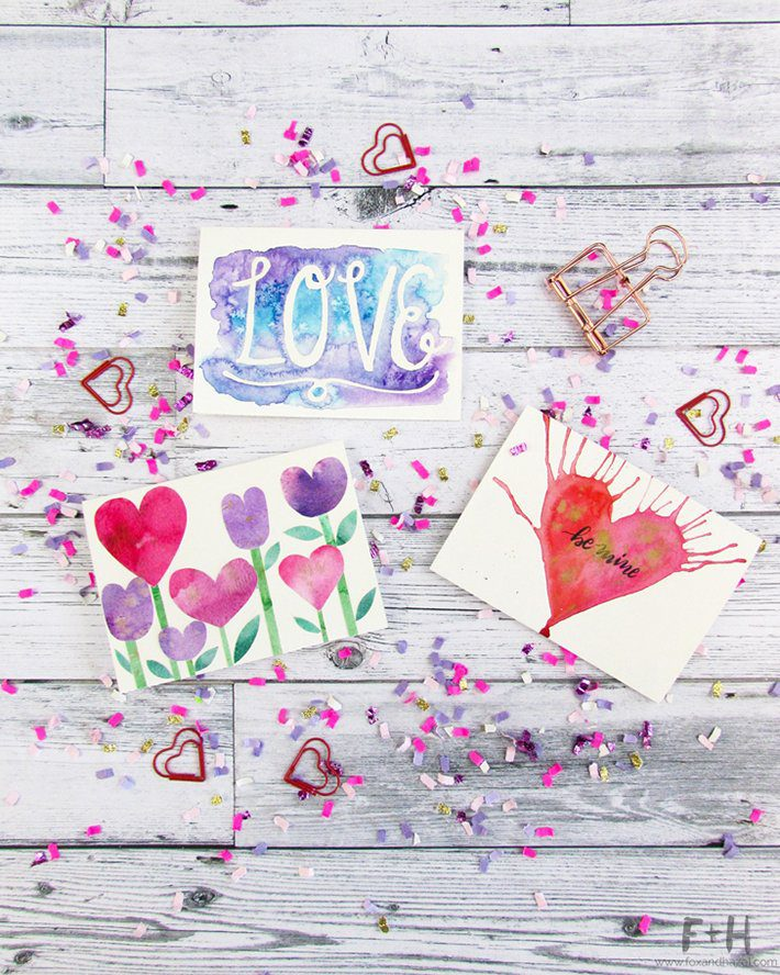 3 easy watercolor valentines cards-fox + hazel