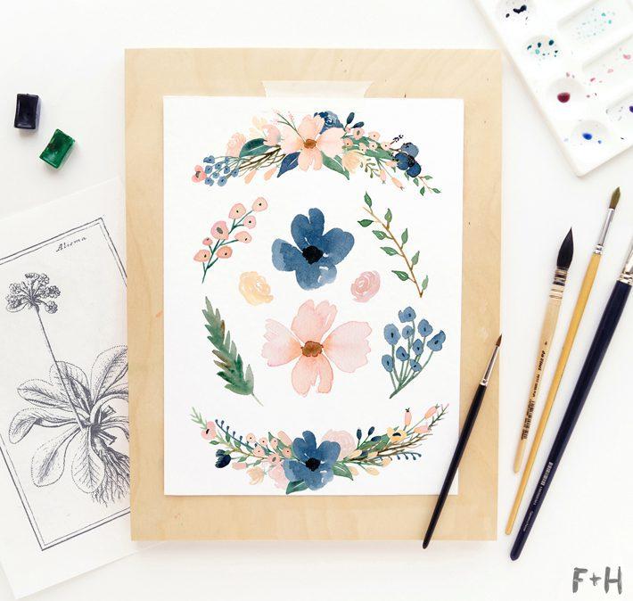 Free Blush & Navy Beautiful Watercolor Flowers - Fox + Hazel 2