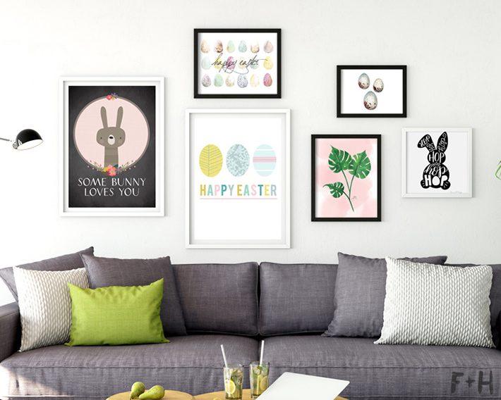 gallery wall of modern easter art prints