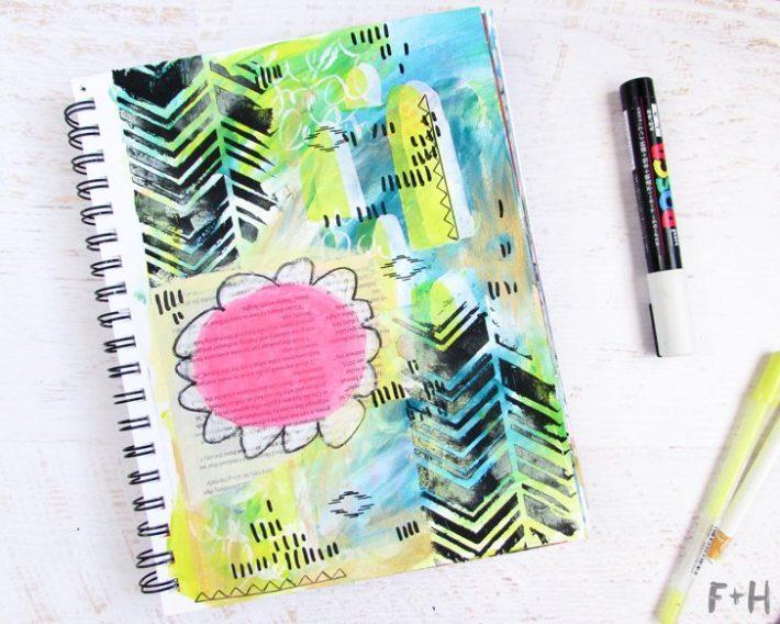 Bright Spring Art Journal Tutorial - Fox + Hazel