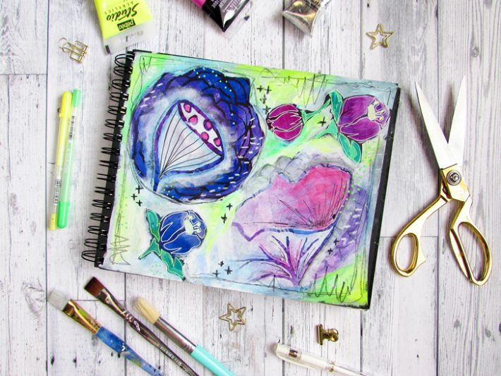 Messy Florals Art Journal Page - Fox + Hazel