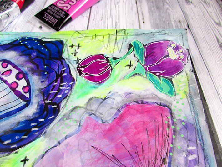 Messy Florals Art Journal Page for StencilGirl - Fox + Hazel