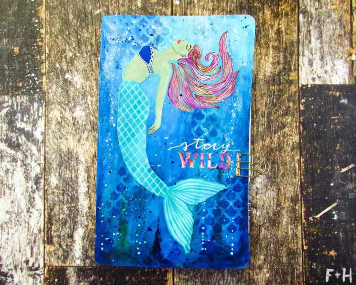 Mermaid Moleskine Notebook with StencilGirl - Fox + Hazel