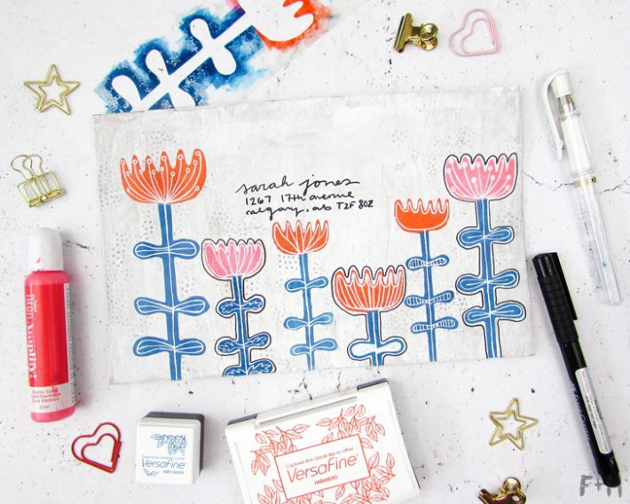 Scandinavian Flowers Envelope Art Tutorial - Fox + Hazel