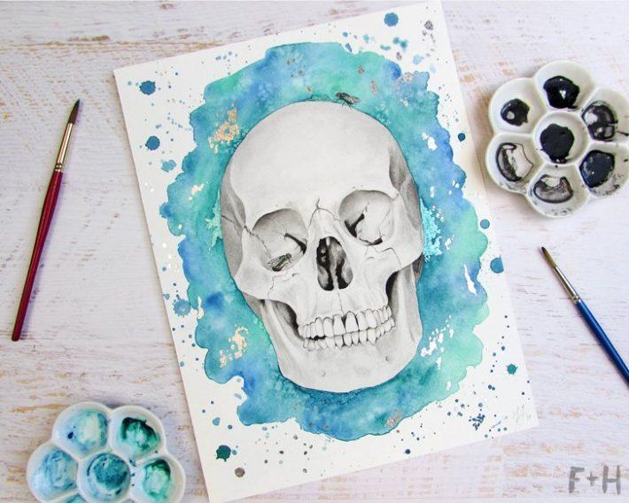 watercolor-skull-painting-fox + hazel