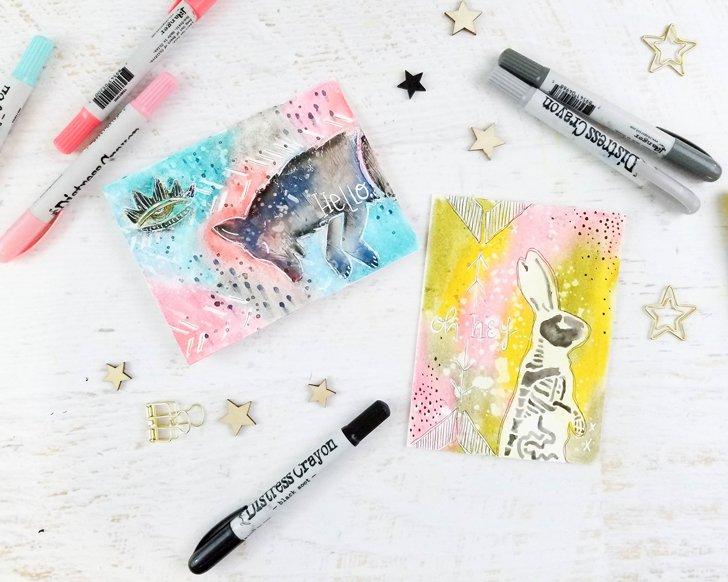 Spirit-Animal-Cards-Tim-Holtz-StencilGirl-Fox + Hazel