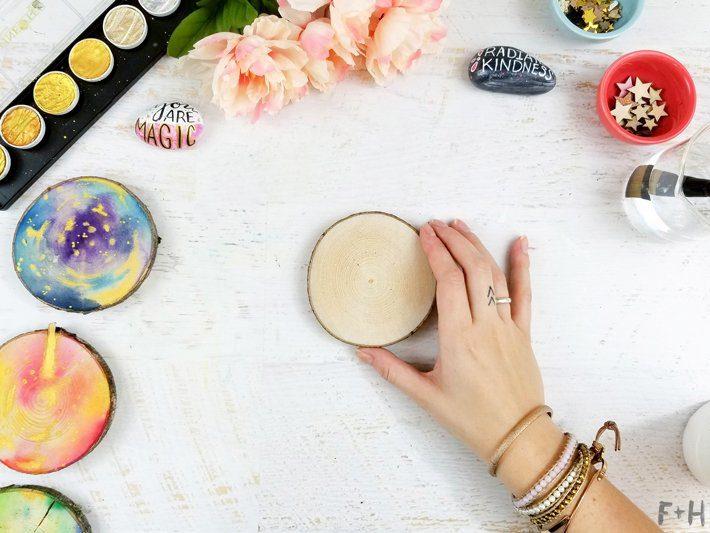 DIY-Watercolor-Wood-Slice-Coasters-1-Fox + Hazel