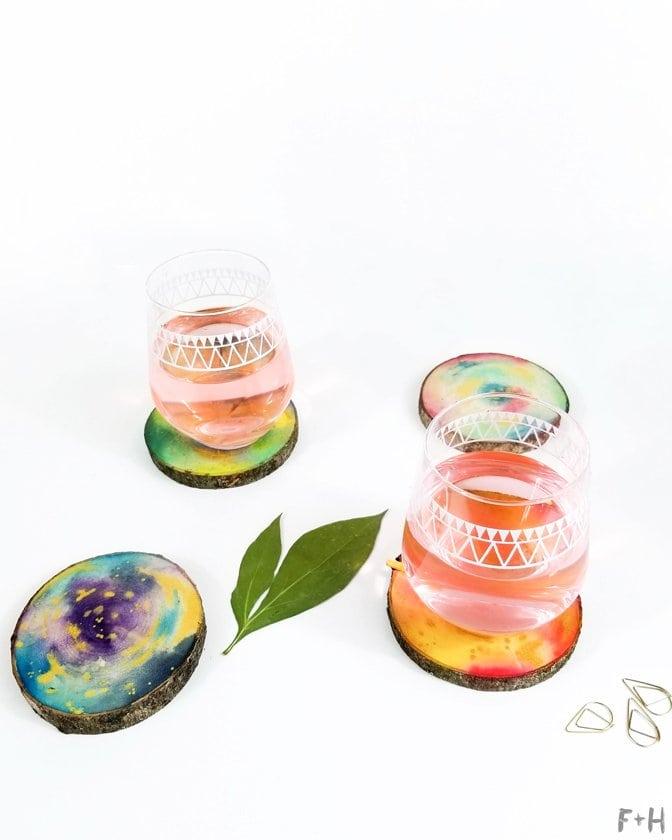 DIY-Watercolor-Wood-Slice-Coasters-12