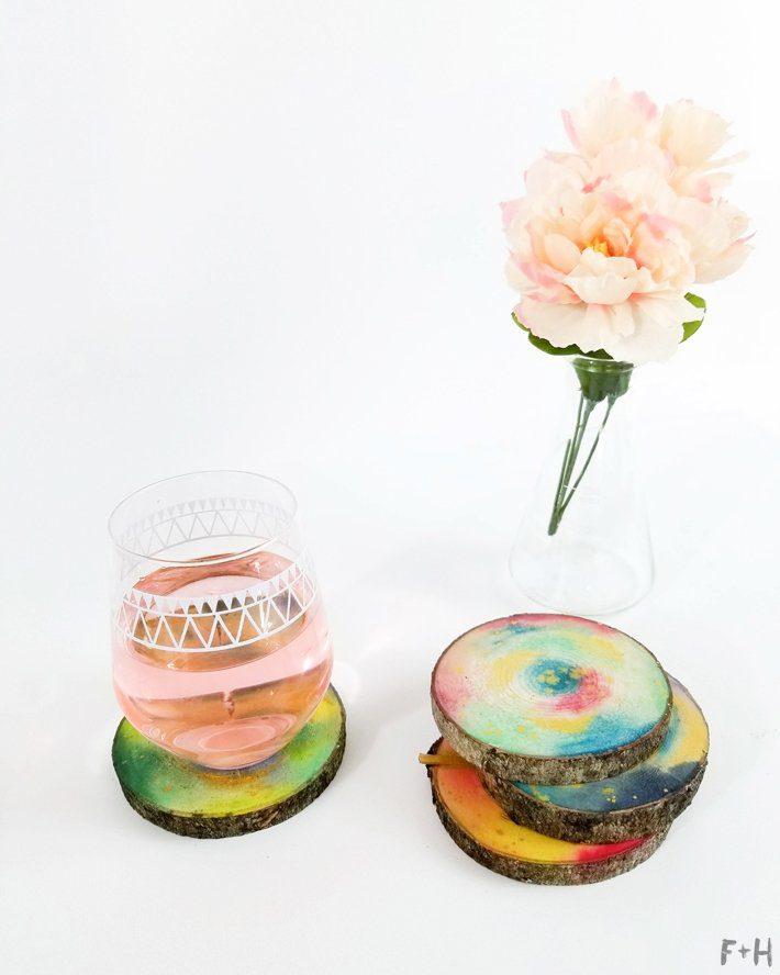 DIY-Watercolor-Wood-Slice-Coasters-13-Fox + Hazel
