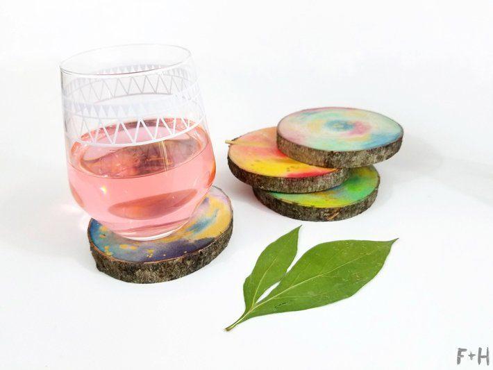 DIY-Watercolor-Wood-Slice-Coasters-14-Fox + Hazel