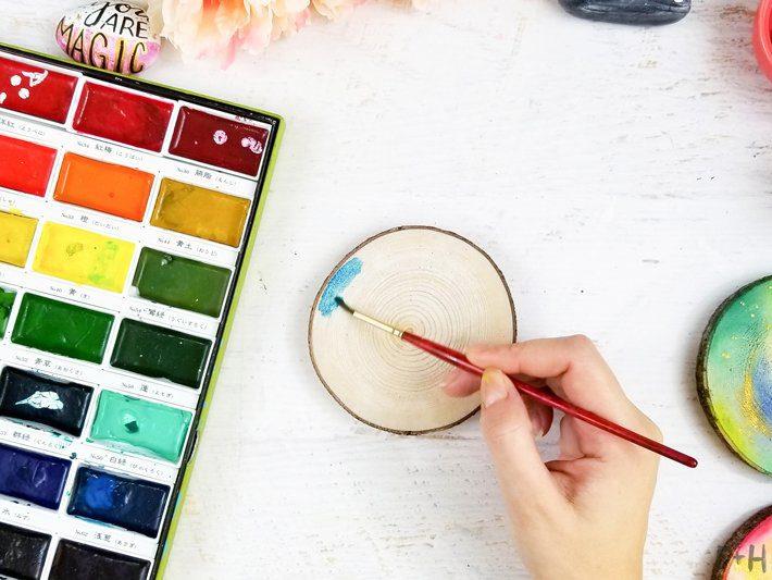 DIY-Watercolor-Wood-Slice-Coasters-5-Fox + Hazel