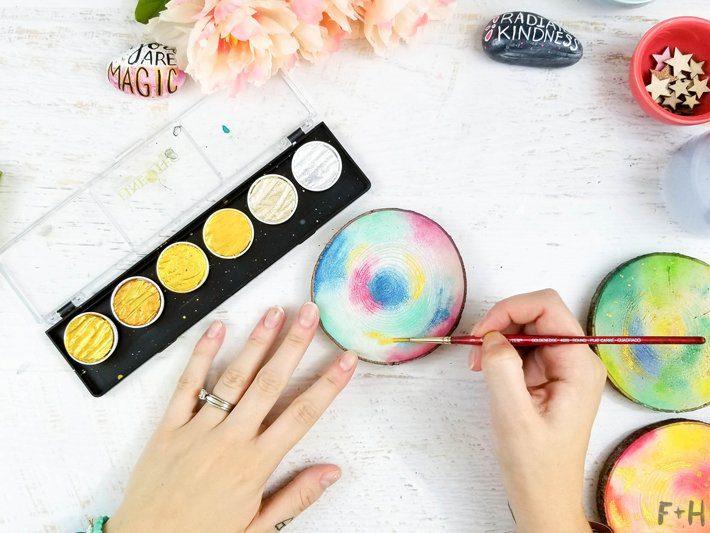 DIY-Watercolor-Wood-Slice-Coasters-6-Fox + Hazel
