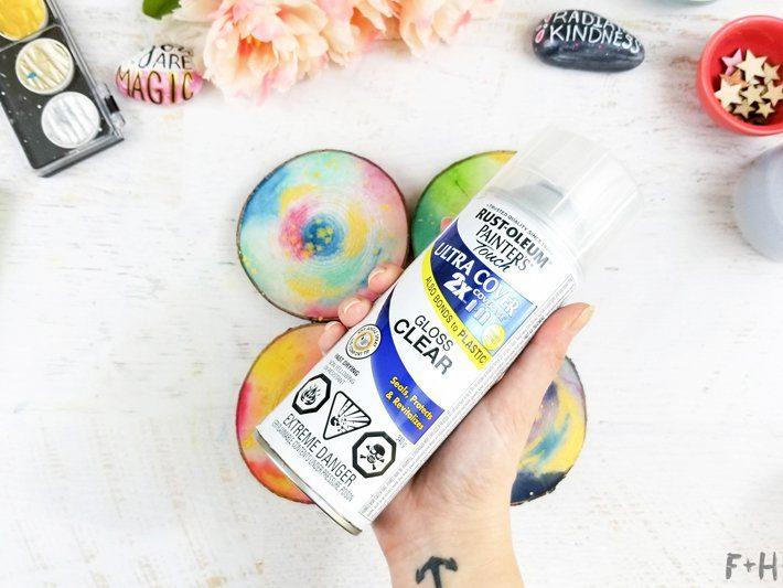 DIY-Watercolor-Wood-Slice-Coasters-7-Fox + Hazel