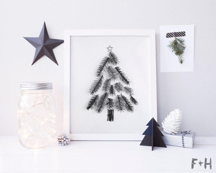free natural christmas tree print