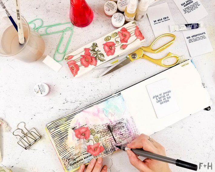 Mixed-Media-Art-Journal-Page---Inspiration-Deck---Fox-+-Hazel-7