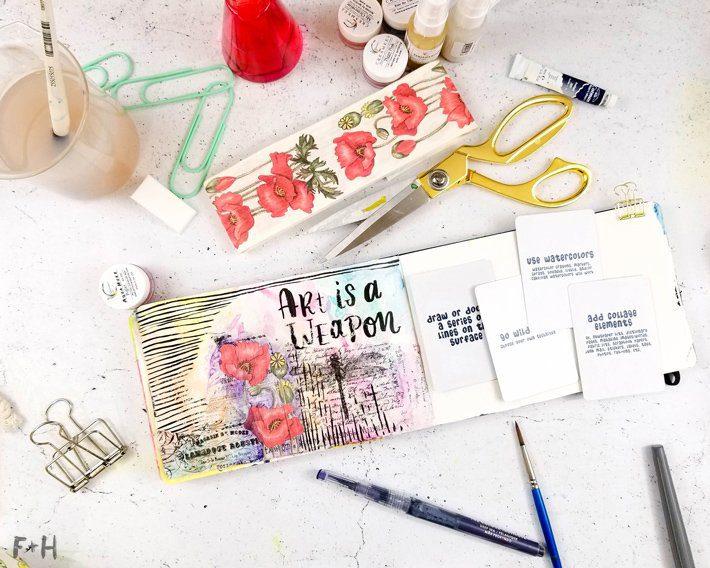 Mixed-Media-Art-Journal-Page---Inspiration-Deck---Fox-+-Hazel-9