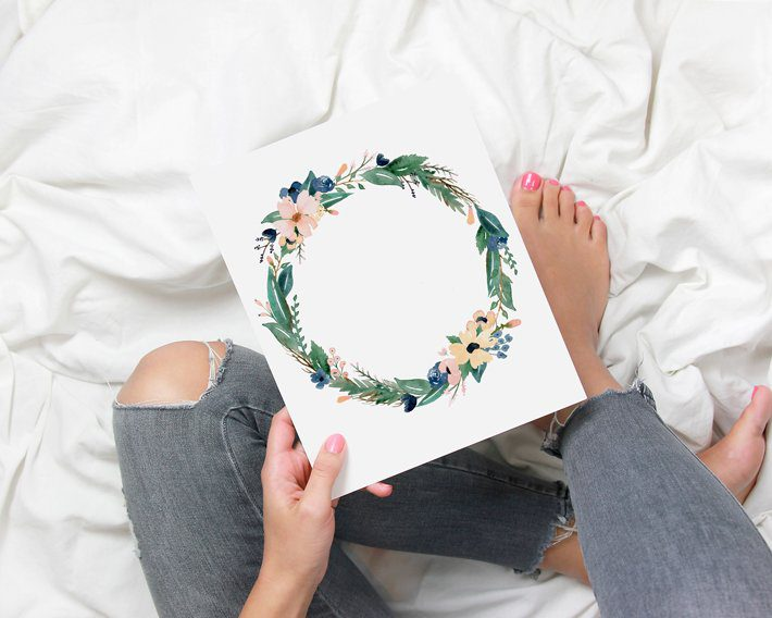 Free Blush & Navy Watercolor Floral Print - Fox + Hazel - Pinterest Short