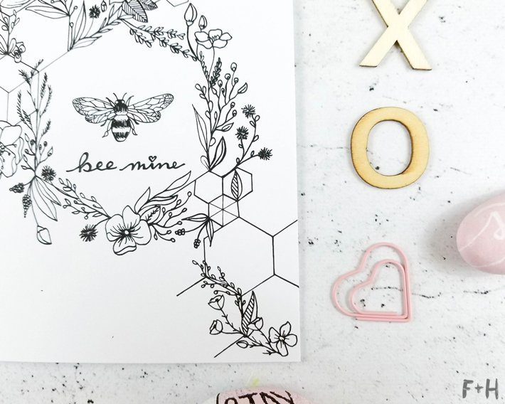Free Bee Valentine Card - Fox + Hazel