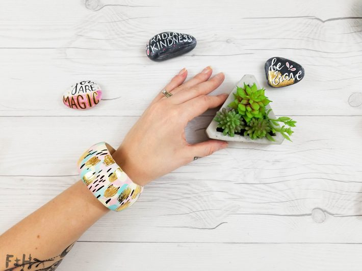 DIY Painted Wood Bangle Bracelet - Fox + Hazel