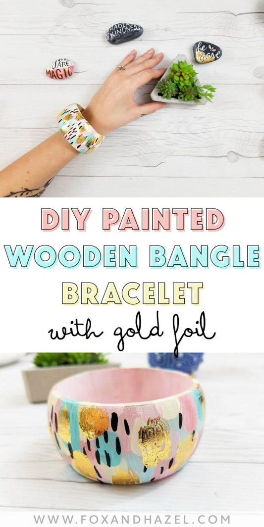 DIY Abstract Painted Wood Bangle Bracelets -Fox + Hazel