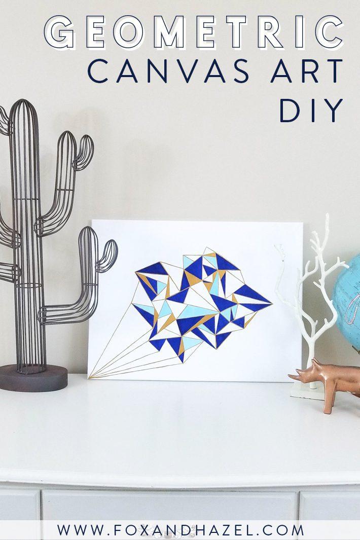 geometric painting on white dresser