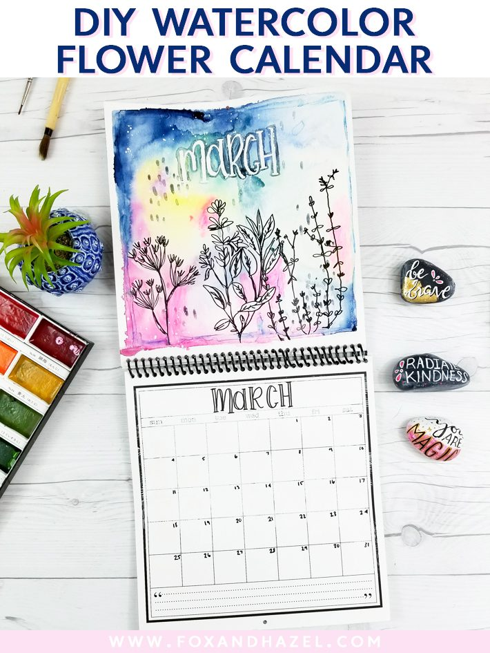 diy watercolor flower calendar - fox + hazel - pinterest