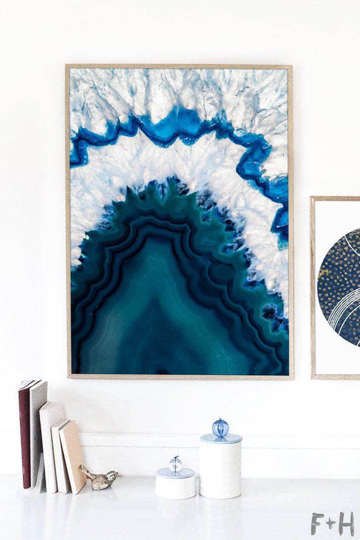 modern blue agate art on white wall