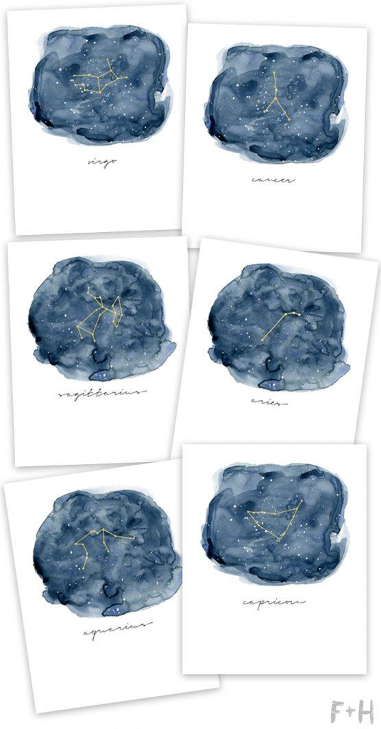 zodiac signs art prints