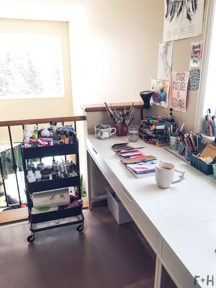 ikea alex desk and raskog cart home office