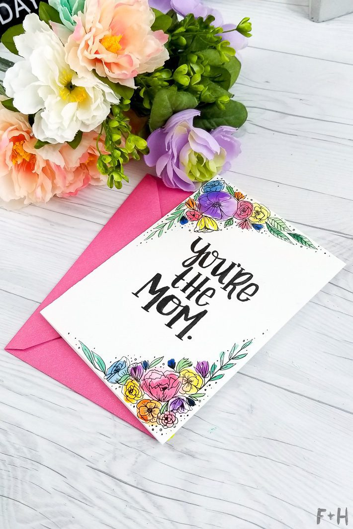 watercolor mother's day card with flowers