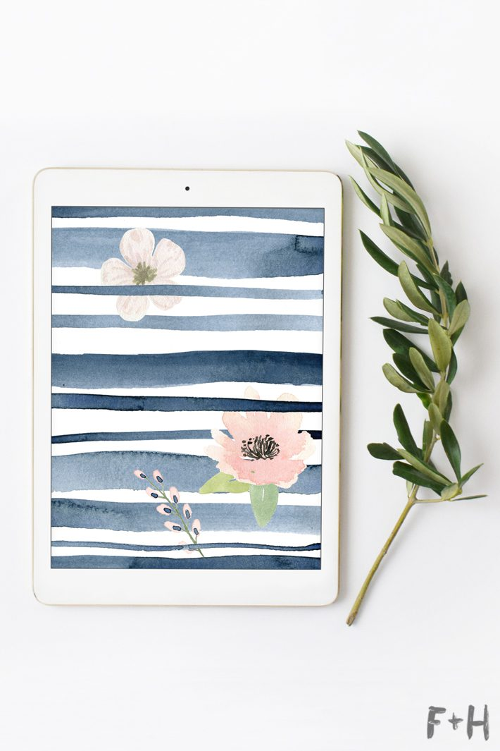 watercolor wallpaper on ipad screen