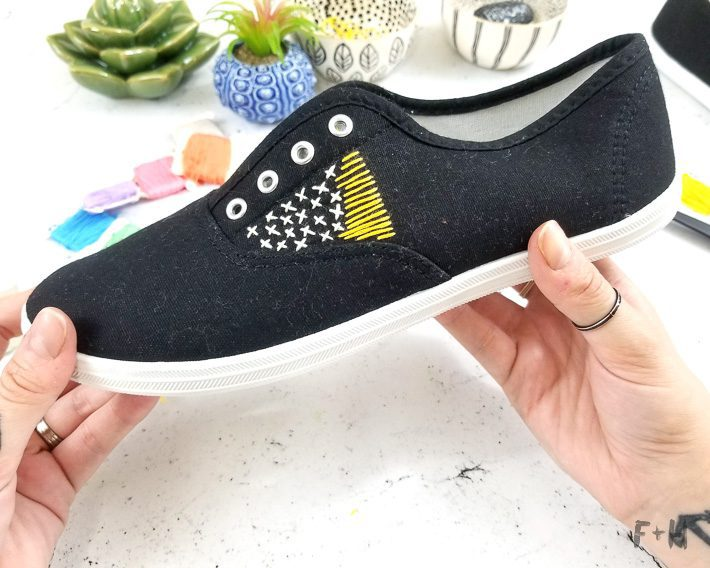 black embroidered canvas shoes on desktop