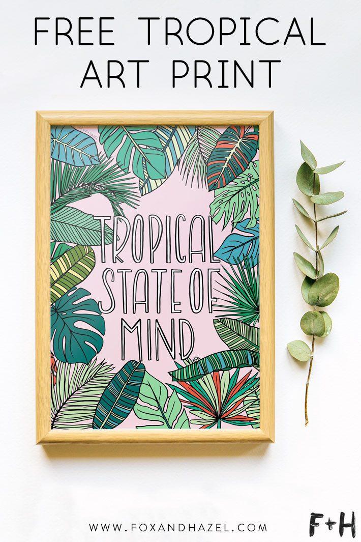 tropical art print on white background