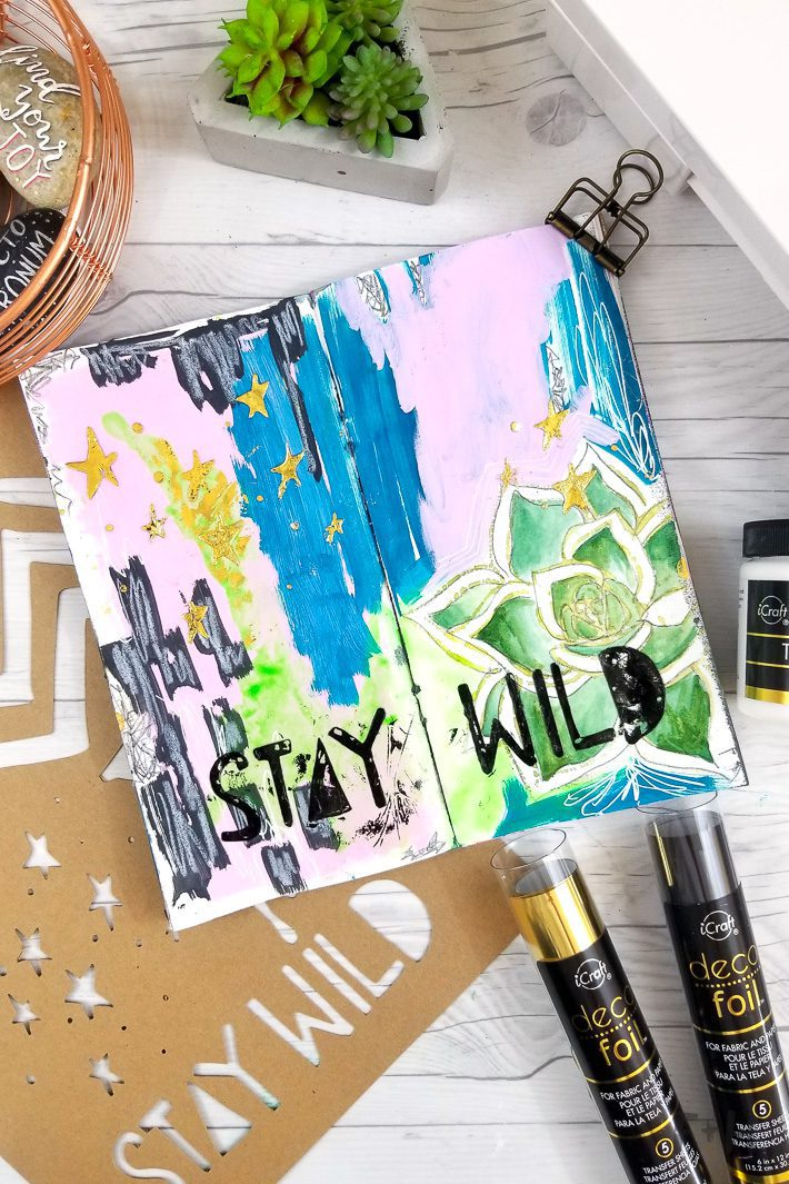 art journal with decofoil and silhouette