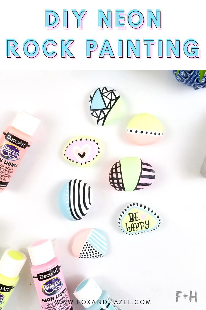 neon painted rocks
