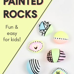 painted rocks on white background