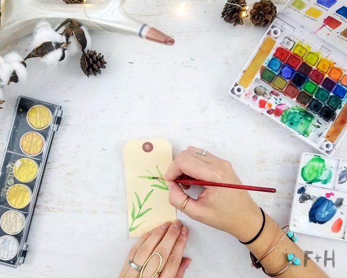 watercolor christmas gift tags