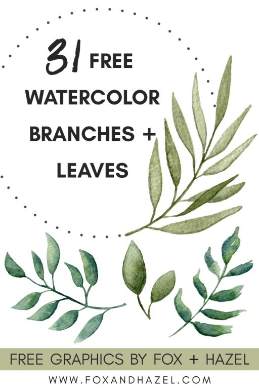 free watercolor leaves and branches clip art