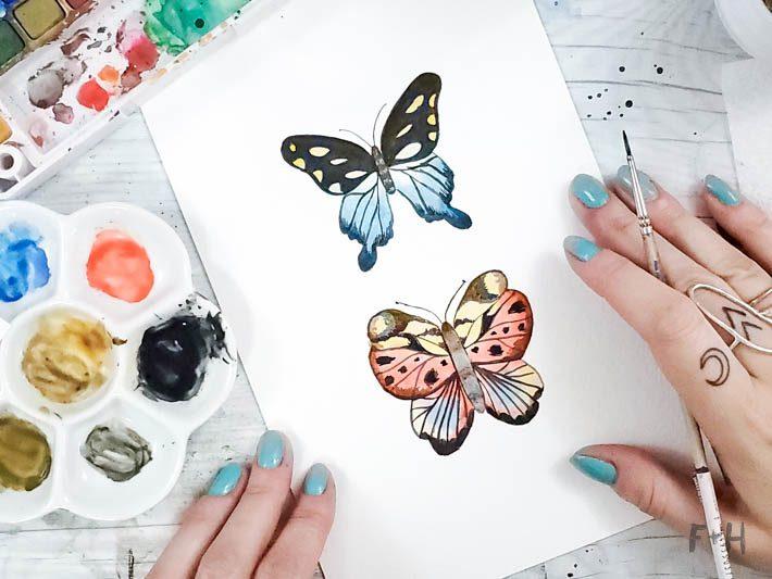 watercolor butterflies tutorial