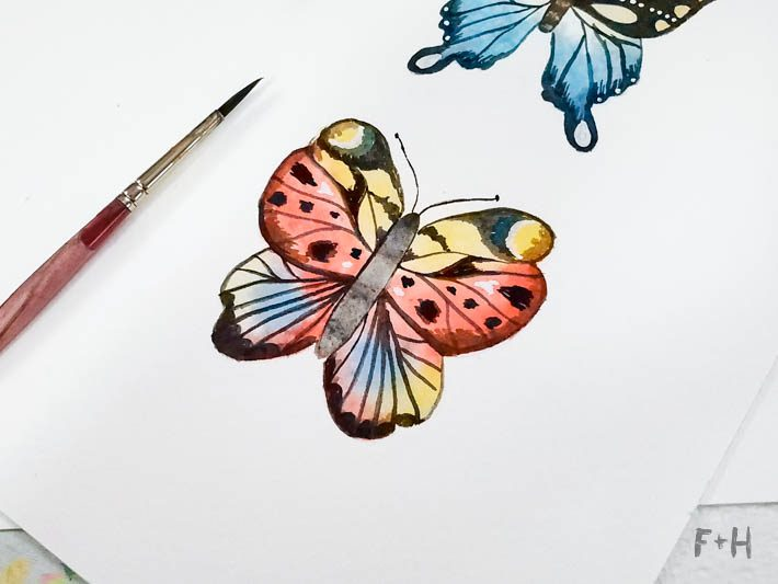 painted watercolor butterflies close up