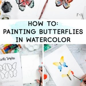 tutorial image of how to paint watercolor butterflies